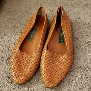 Vintage Cole Haan Tan Points Woven Flats